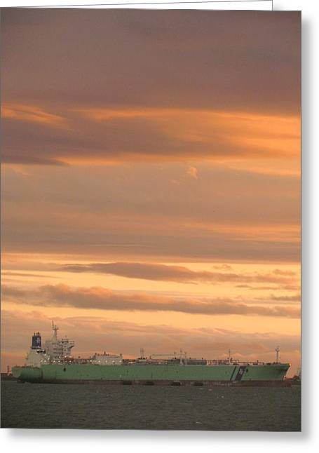 Sunrise Over Ship Greeting Card