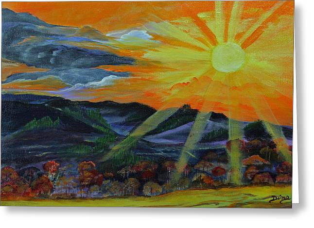Sunrise Over The Mountains Greeting Card by Dina Jacobs