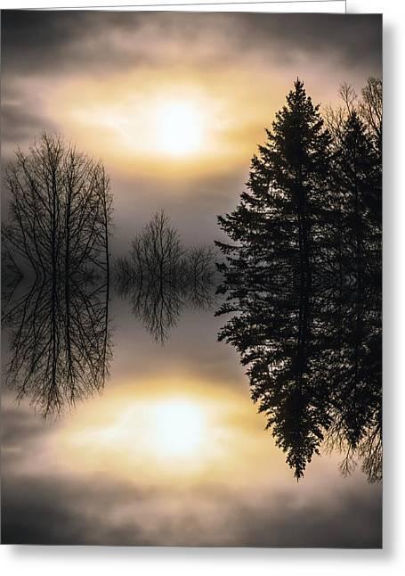 Sunrise-sundown Greeting Card by Sherman Perry