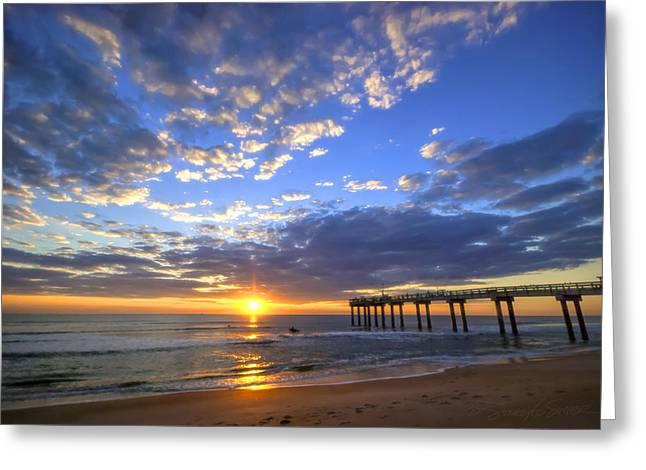 Sunrise Surfers Greeting Card