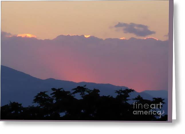 Greeting Card featuring the photograph Sunset 2 by Ze  Di