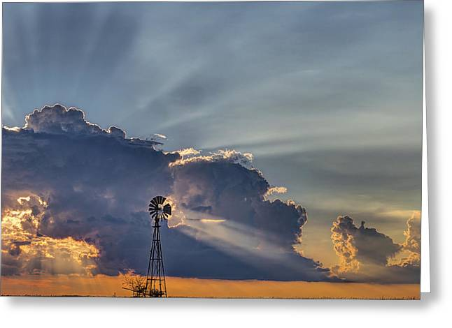 Sunset And Windmill Greeting Card