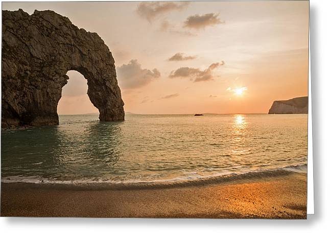 Sunset At Durdle Door Greeting Card
