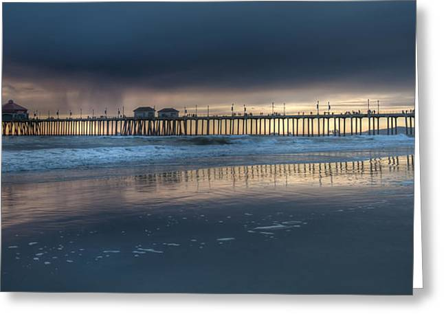 Approaching Storm Huntington Beach Pier Greeting Card