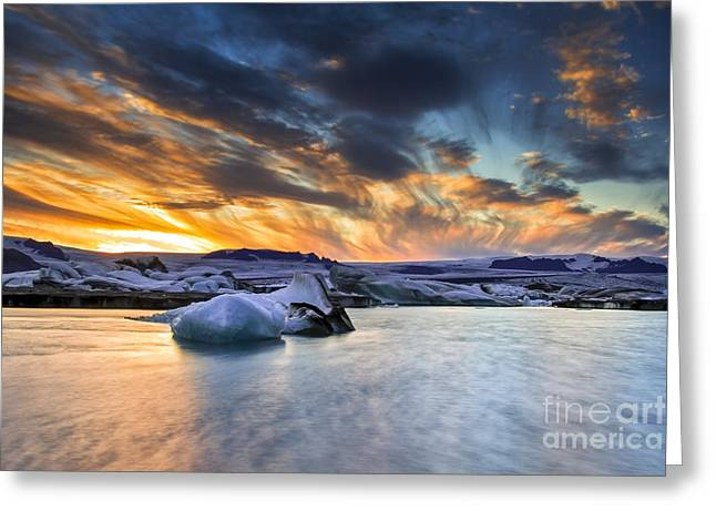 sunset at Jokulsarlon iceland Greeting Card