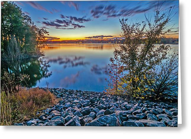 Sunset At Lake Wylie Greeting Card by Alex Grichenko