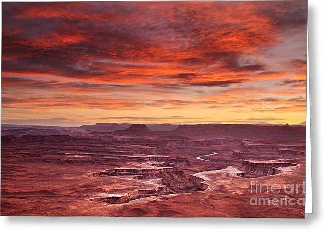 Sunset At The Green River Overlook Greeting Card