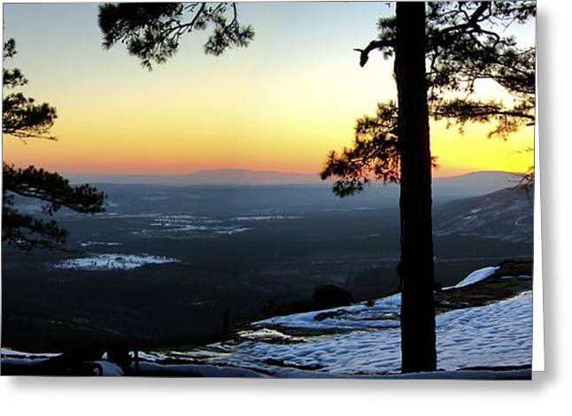 Greeting Card featuring the photograph Sunset Atop Snowy Mt. Nebo by Jason Politte