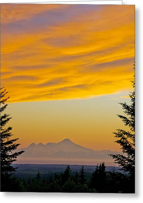 Sunset Clouds Blaze Orange Over Iliamna Greeting Card by Bill Scott