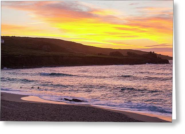Sunset From Porthmeor Beach In St Ives Greeting Card by Ashley Cooper