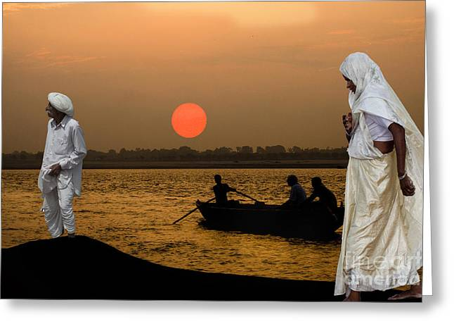 Sunset On Ganges Greeting Card