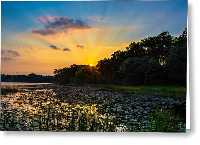 Greeting Card featuring the photograph Sunset On Lake Masterman by Adam Mateo Fierro