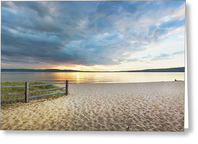 Sunset On South Bay, Lake Superior Greeting Card by Panoramic Images