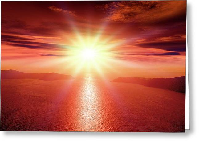 Sunset Over A Bay Greeting Card