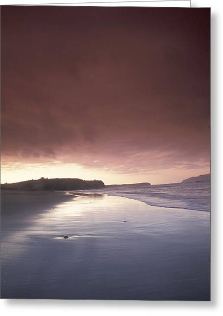 Sunset Over Beach At Pasagshak Bay Greeting Card by Diana Proemm