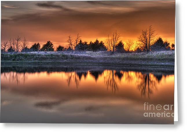 Sunset Over Bryzn Greeting Card by Art Whitton