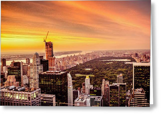 Sunset Over Central Park And The New York City Skyline Greeting Card by Vivienne Gucwa