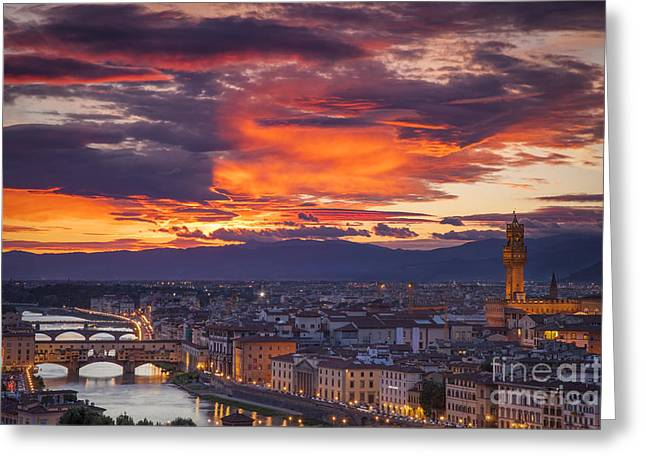 Sunset Over Florence Greeting Card