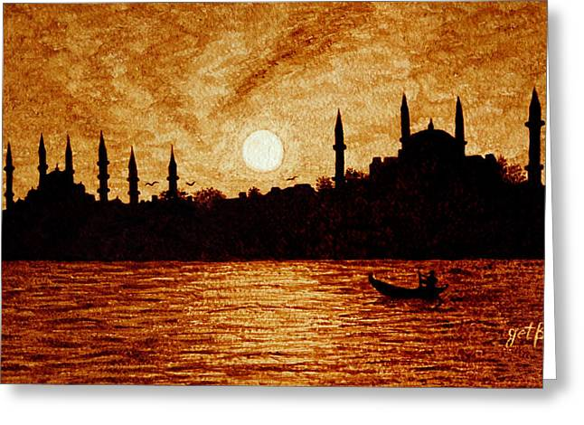 Sunset Over Istanbul Original Coffee Painting Greeting Card by Georgeta  Blanaru