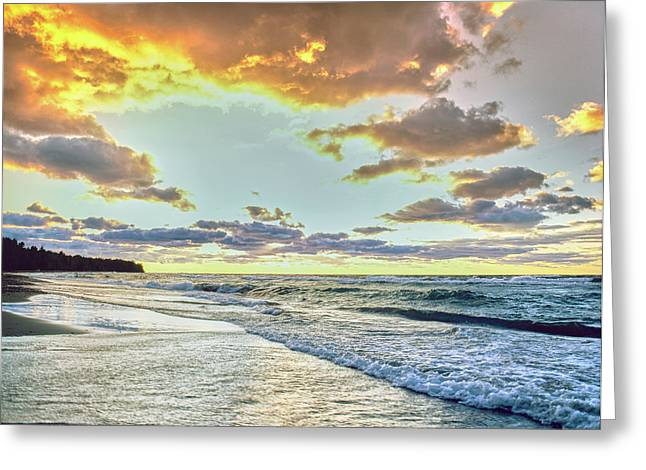 Sunset Over Lake Superior, Keweenaw Greeting Card