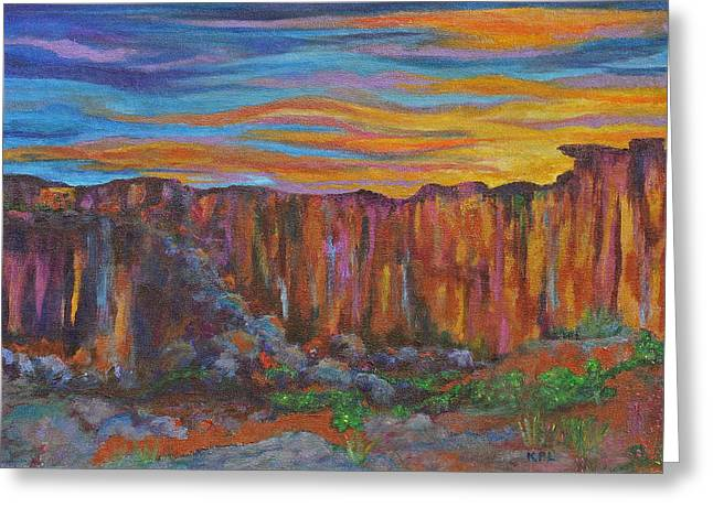 Sunset Over The Canyon Greeting Card
