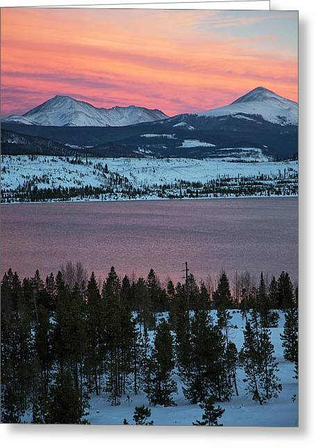 Sunset Over The Dillon Reservoir Greeting Card by Jim West