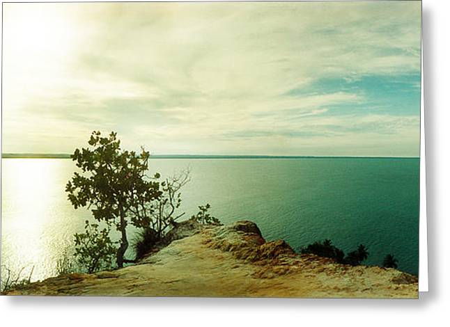 Sunset Over The Ocean, Morro De Sao Greeting Card