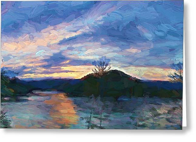 Sunset Pano - Watauga Lake Greeting Card