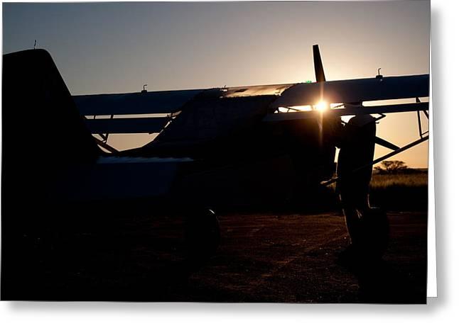Sunset Plane Greeting Card by Paul Job