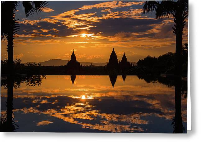 Sunset Reflected In The Infinity Pool Greeting Card