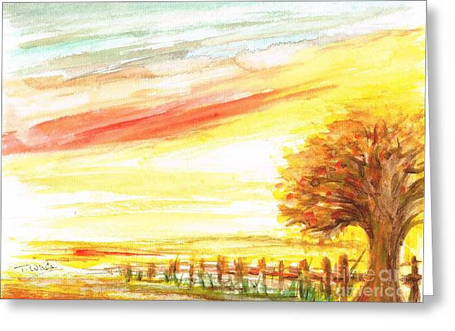 Greeting Card featuring the painting Sunset by Teresa White