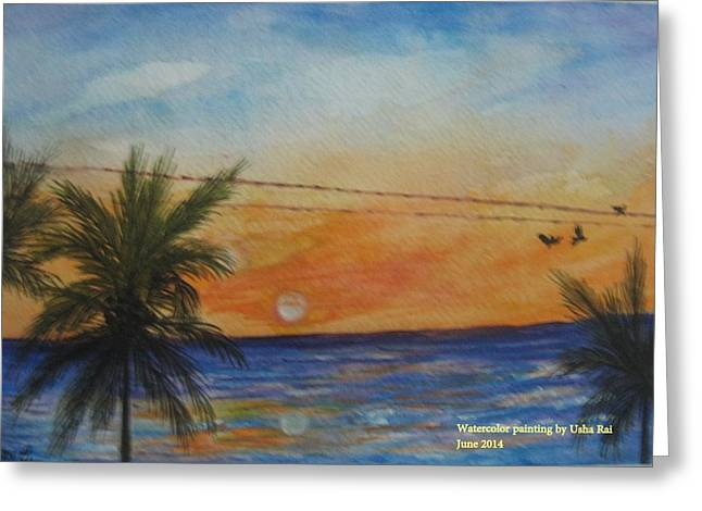 Sunset Greeting Card by Usha Rai