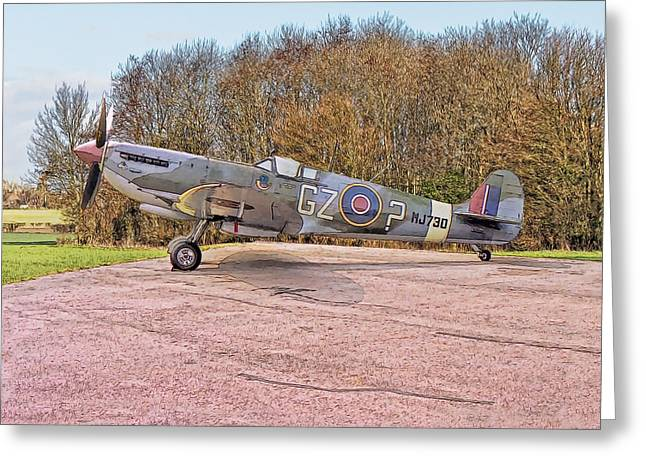 Greeting Card featuring the digital art Supermarine Spitfire Hf Mk. Ixe Mj730 by Paul Gulliver