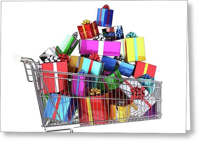 Supermarket Trolley Full Of Presents Greeting Card by Leonello Calvetti