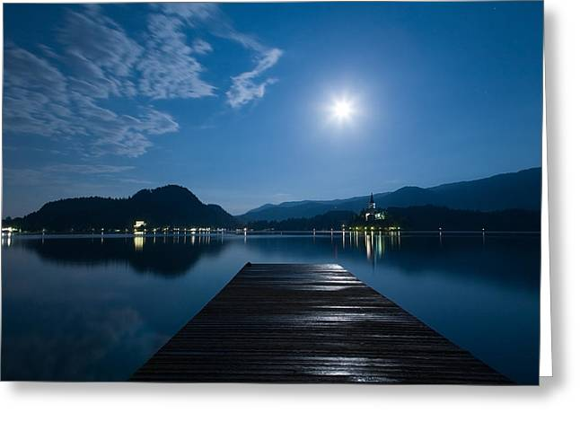 Supermoon Over Bled Island Church Greeting Card by Ian Middleton