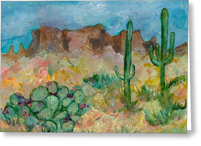 Greeting Card featuring the painting Superstition Mountains Arizona by Elaine Elliott