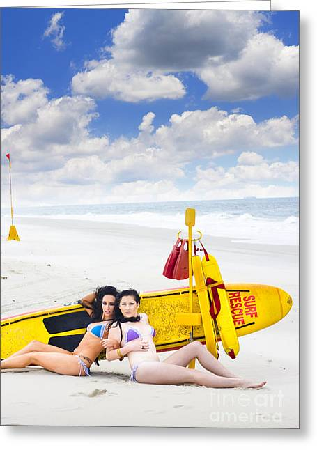 Surf Rescue Concept Greeting Card by Jorgo Photography - Wall Art Gallery