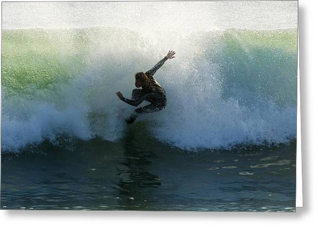Surfer Catching A Wave Greeting Card by Ben Welsh