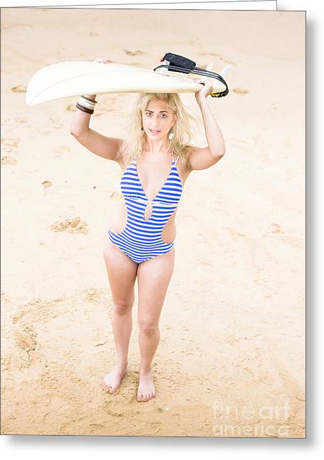 Surfer Girl Greeting Card by Jorgo Photography - Wall Art Gallery