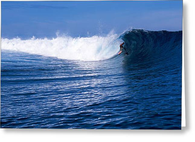 Surfer In The Sea, Tahiti, French Greeting Card
