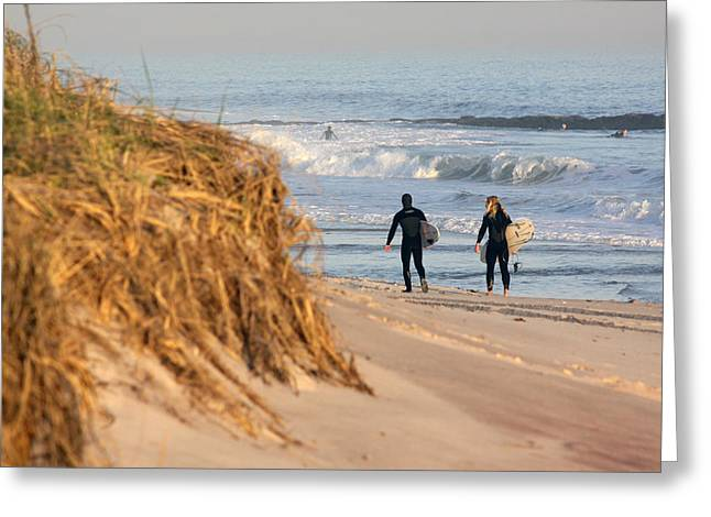 Surfers At Beach Westhampton New York Greeting Card