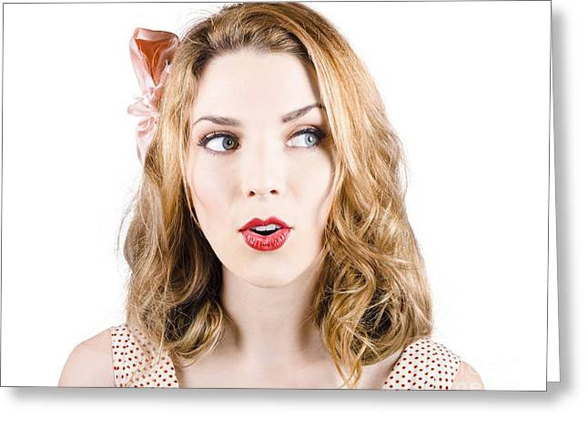 Surprised Blonde Pin-up Girl Looking To Copyspace Greeting Card
