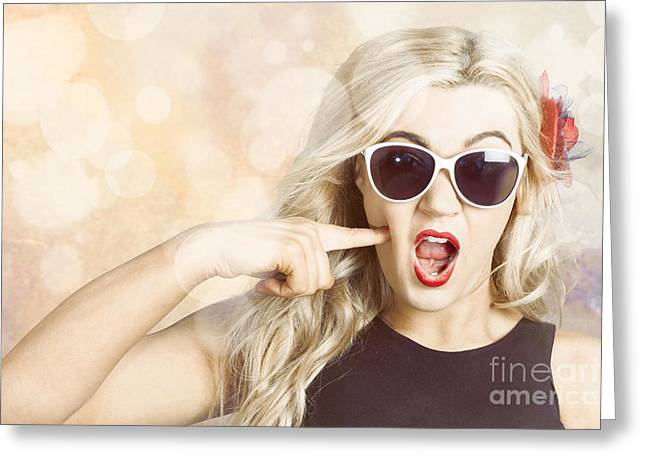 Surprised Blonde Woman With Retro Hair And Makeup Greeting Card by Jorgo Photography - Wall Art Gallery