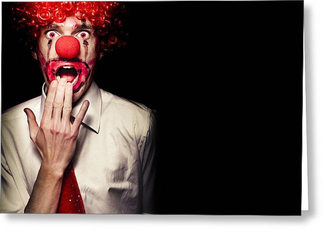 Surprised Clown Isolated Over A Black Background Greeting Card by Jorgo Photography - Wall Art Gallery