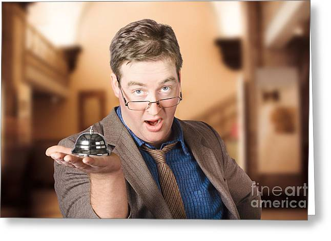 Surprised Customer Holding Retail Service Bell Greeting Card by Jorgo Photography - Wall Art Gallery