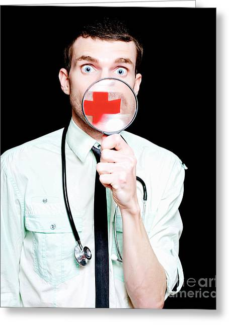 Surprised Doctor Showing Health Care Cross Greeting Card