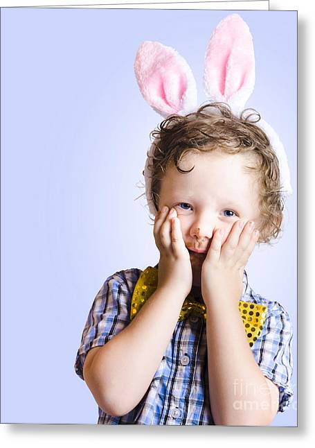 Surprised Easter Kid Looking Shocked Greeting Card by Jorgo Photography - Wall Art Gallery