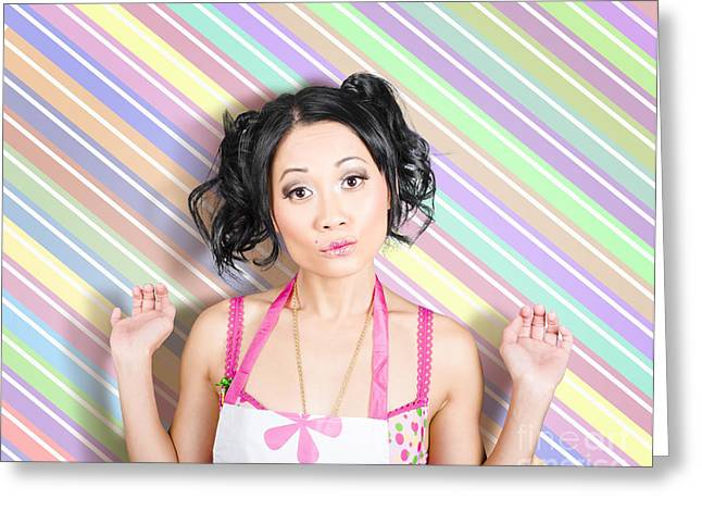 Surprised Housewife On Stripe Copyspace Greeting Card by Jorgo Photography - Wall Art Gallery