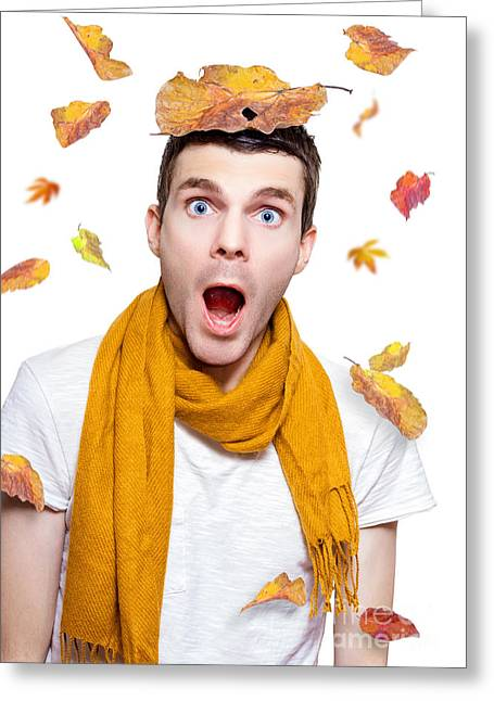 Surprised Person Having Fun With Tree Leaf On Head Greeting Card