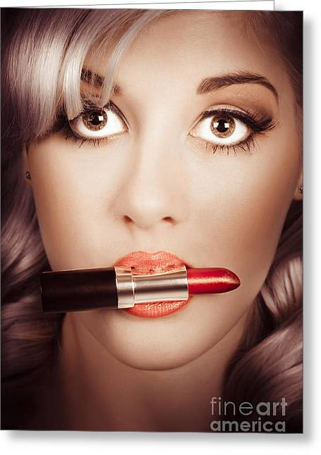 Surprised Pinup Girl With Lipstick Makeup In Mouth Greeting Card by Jorgo Photography - Wall Art Gallery